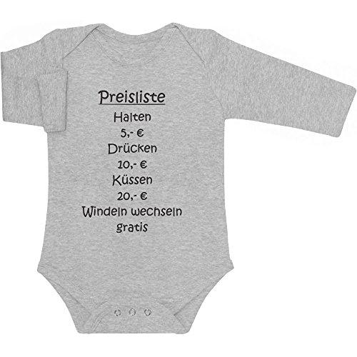 Shirtgeil Baby Preisliste - Drücken, Halten, Küssen, Windeln Baby Langarm Body 6M Grau