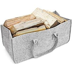 Chimenea Madera Funda, aodoor cesta para leña Cesta Fieltro-Soporte para periódicos, alta calidad se puede cargar-Cesta con un montón de madera. aprox. 50x 25x 25cm (gris claro)