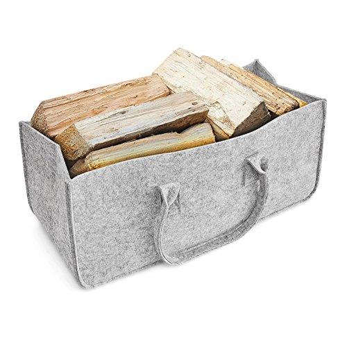 Borsa portalegna, aodoor camino legno borsa in feltro, per legna da caminetto oppure per giornali cesto portariviste 50 x 25 x 25 cm (grigio)