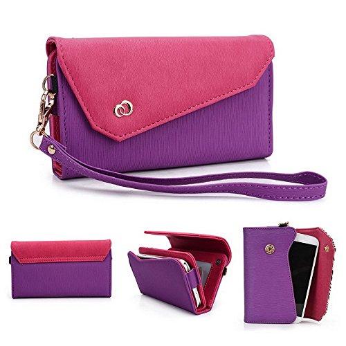 Kroo Link Serie Damen Clutch Wallet für Nokia Lumia 530/Nokia Lumia 525/Nokia Lumia 520Handy Tragetasche Wristlet Fall mehrfarbig Purple and Magenta