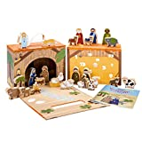 Corasol Spiel-Krippe für Kinder inkl. Adventskalender mit 24 Krippenfiguren aus Holz, hochwertigem Spielkoffer und Weihnachts-Geschichte, 27-teilig (1 Set)