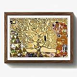 BIG Box Art Gustav Klimt Der Baum des Lebens, gerahmt mit schwarzem Rahmen, mehrfarbige, 62x 45cm/24,5x 18/a2-p, Holz, walnuss, 62 x 45 cm/24.5 x 18-Inch/A2