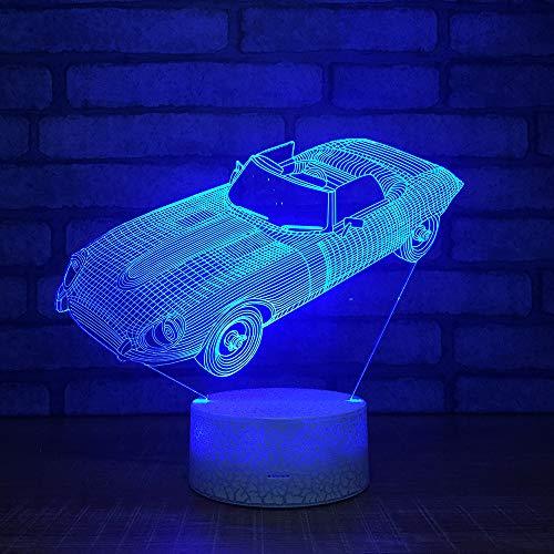 3D Optisches Nachtlicht Nachttischlampe Für Kinder LED Tischleuchte Dekoratives Licht 7 Farben Andern Touch Switch Acryl USB Batterie Crack Basis Convertible Car