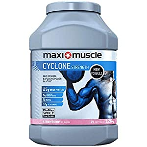 Maximuscle Cyclone Whey Protein Powder with Creatine, Strawberry, 1.26 kg