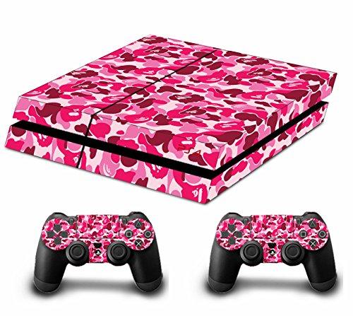 Camouflage Tankstopp Skin Sticker FACEPLATES für Konsole PS4x 1und das Controller x 2 rosa pink
