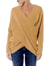 4955150262c57d YOINS Women Cross Wrap Front Knit V Neck Irregular Hem Jumper Sweater Long  Sleeves Tops