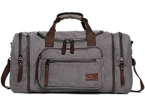 Fresion Große Reisetasche Canvas Sporttasche Schultertasche Tote Handtasche Männer Weekender Tasche Duffle Bag für Frauen & Männer mit 44L (Grau) (Laptop Bag Duffle)