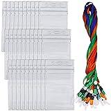 30pezzi porta badge con cordini, Yucool impermeabile verticale carta ID nome etichetta, heavy duty sigillabile vinile PVC-trasparente