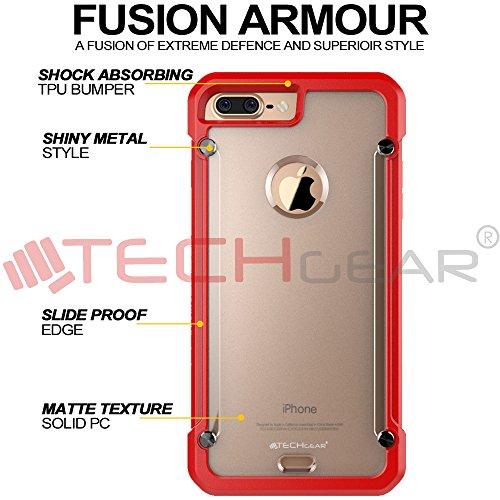Coque Apple iPhone 7 Plus, TECHGEAR® iPhone 7 Plus (5.5 Pouces) [FUSION ARMOUR] Coque Protective Svelte Anti-Choc (Noir Entier) Rouge/Givré (FUSION ARMOUR)