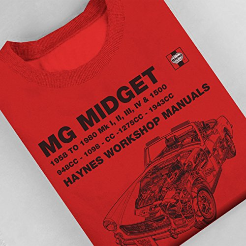 Haynes Owners Workshop Manual 0265 MG Midget 948 to 1275cc Black Women's Sweatshirt Red