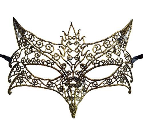Fox Schnüren Maske Maskenball Maske venezianischer Karneval-Karnevals-Party Mask Maske (Gold)