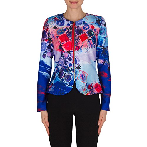 Joseph Ribkoff Colorful Stretch Front Zip Collarless Jacket Style 182746