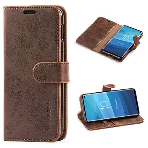 Galaxy-leder Etui (Mulbess Handyhülle Samsung Galaxy S10e Hülle Leder, [Ledertasche mit BookStyle] Flip Case Tasche Etui Schutzhülle für Samsung S10e Hülle Leder, Vintage Braun)