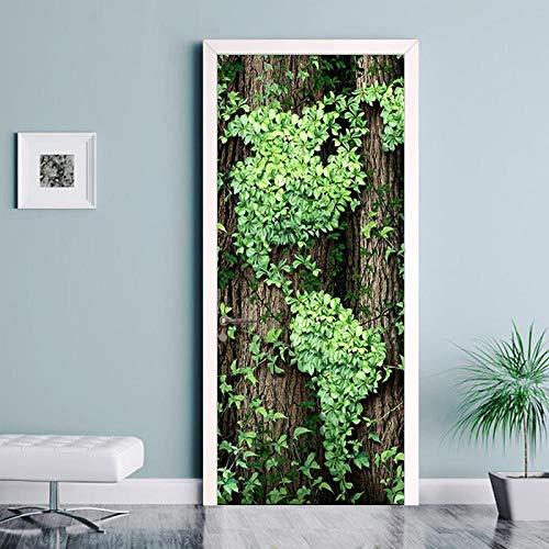 Rattan-peel (3D durch Aufkleber Wandaufkleber Wandbild grün Rattan Hintergrund dekorative Schlafzimmer Kinder Landschaft Aufkleber Tier DIY Vinyl PVC95x215cm)