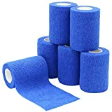 6 Rolls Cohesive Bandages 7.5cm x 4.5m, Elastic Adhesive Bandage Widedly Used in Medical, Sports and Veterinary Area - Blue