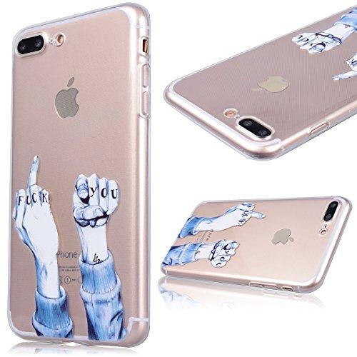GrandEver Coque iPhone 7 Plus Silicone Gel TPU Transparente Souple Housse Protecteur avec Absorption Case avec Bumper Anti-Scratch Cover Etui pour iPhone 7 Plus (Chat Motif ) Doigt