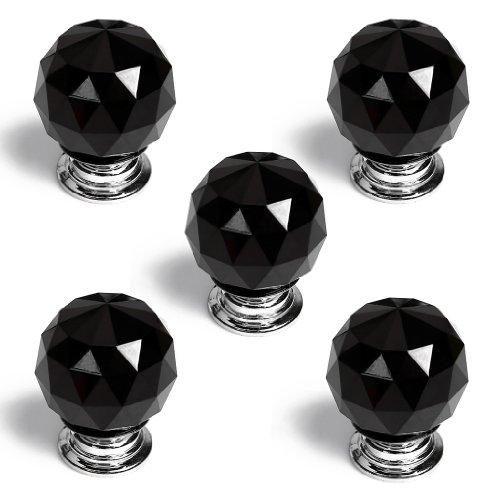 Revesun 8pcs/lot diametro 40mm nero cristallo vetro Porta manopole armadio