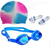 MONEX Swimming Goggles ,Cap & Ear Plug Combo –Water Tight And Adjustable Comfortable Fit - Anti-Fog - UV Protection With Easy On, Easy Off Swim Cap – No Wet, Tangled Hair Perfect For Youth And Kids