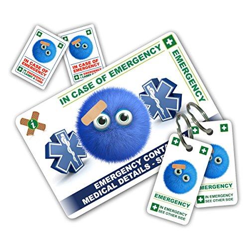 Lustiges Design in Case of Emergency (I.C.E.) Pack mit Schlüssel Ringe & Aufkleber aus icecard. Brieftasche Größe Karte mit beschriftbarer Rückseite zu tragen Notfall Kontakt & Medical/Medikamenten Informationen. -