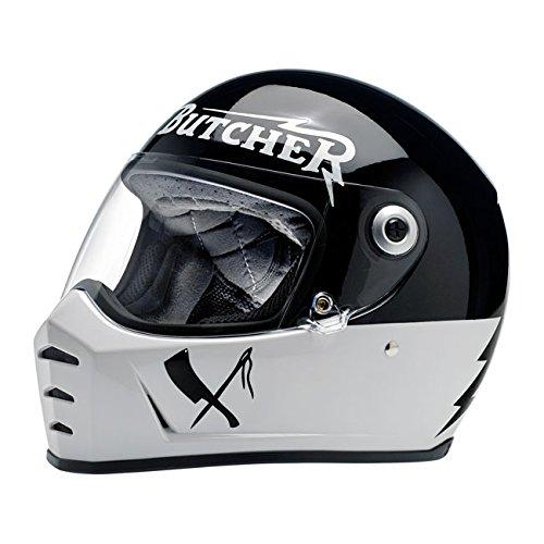 Casco integral Biltwell Lane divisor Rusty Butcher homologado blanco negro universal X Moto Harley y custom Talla M