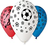 """Pack of 25 x 12"""" Assorted Colours Football Design Balloons"""