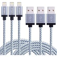 [3 piezas] TOPLUS 2m Cable Lightning de Nylon Compatible con iPhone 6/6s/6 Plus/5/5c/5s, iPad 4 Mini Air iPod Touch 5 iPod Nano 7