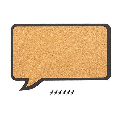 Kork Pinnwand-Dekorative Sprechblasen Naturkork, Board-inkl. 6Push Pins-Perfekt für abstecken Memos und Erinnerungen, 44,5x 29,2x 0,8cm