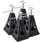 Stützbock 4er Set Kunststoff höhenverstellbar 750 Kg Traglast/Stück 42 cm Höhe für Wohnwagen oder Anhänger