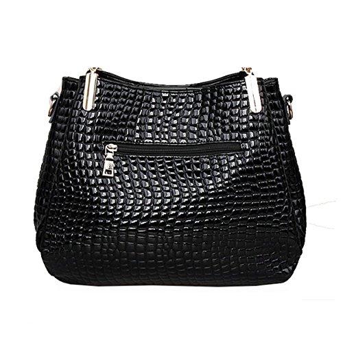 WU Zhi La Signora Modello Coccodrillo Borse Spalla Messenger Bag Black