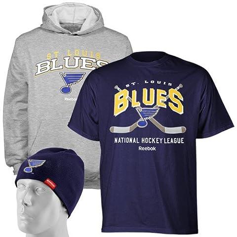 NHL St. Louis Blues Uncuffed Hat, Hoody & Tee 3er Pack Set–r58exmss Youth, Kinder, St. Louis (Baseball Screen Print Cap)