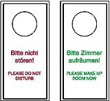 4546. Hinweisschild für Gaststätten, Pensionen, Hotels Anhänger für Türklinken, deutsch/englisch Kunststoff, PVC light, ,4mm stark Größe 10,00 cm x 20,00 cm