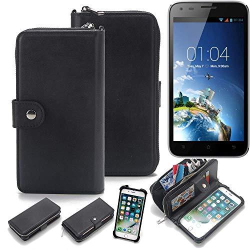 K-S-Trade 2in1 Handyhülle für Kazam Trooper X5.0 Schutzhülle & Portemonnee Schutzhülle Tasche Handytasche Case Etui Geldbörse Wallet Bookstyle Hülle schwarz (1x)