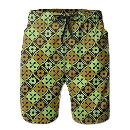 artyly Geometrisches Spitzendesign der beige und gelben Sommeranzug-Strandhose für Herren mit Taschen, Größe L