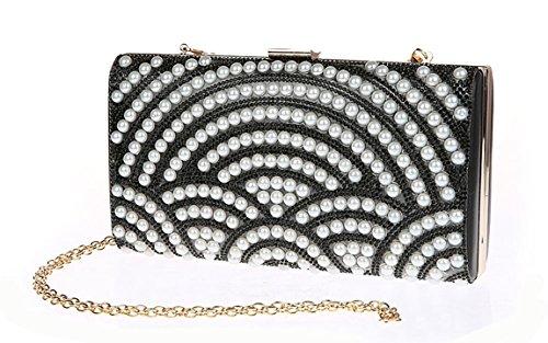 Damen Satin Handtasche Nachgemachte Perle Clutch Schultertasche Abendtasche (Schwarz) Kaxidy gVvO0S2rO4
