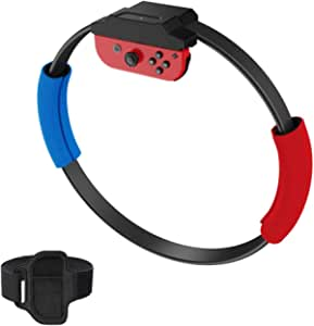Ring Controller Compatible with Ring Fit Adventure Game on Nintendo Switch, includes 4 x Padded Grips and Leg Strap (Game Not Included)
