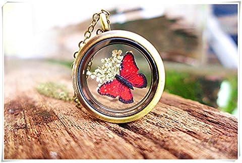 Rouge Papillon Collier, séchées Fleur Médaillon Collier, bijoux d'insectes Bug Bijoux Woodland Bijoux Jardin botanique de cadeaux pour les jardiniers