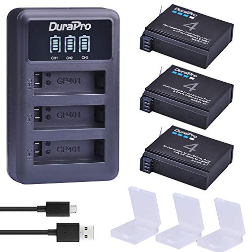 DuraPro Akkus AHDBT-401 1500 mAh + LCD Dual USB Ladegerät für Gopro 4 Akku Gopro Hero 4 schwarz/Silber Kamera-Batterien 3Pcs Gopro 4 Replacement Battery + LCD USB Charge (Gopro Hero 4 Akku-ladegerät Dual)