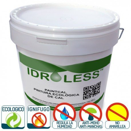 PAINTCAL: PINTURA DE CAL ECOLOGICA IMPERMEABLE IDROLESS - 25 KG  INTERIORES  TEJA