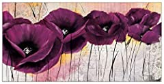 Idea Regalo - Artopweb Pannelli Decorativi Zacher-Finet Pavot Violet II Quadro, Legno, 100x1.8x50 cm