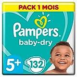 Pampers Baby Dry  - Pañales para bebés, Talla 5+ (13-25kg), 132 unidades