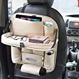 CARMATE Universal PU Leather Back Seat Organiser with Foldable Dining Table Tray, Multi-Storage Bottle and Tissue Paper Holder - Beige