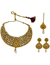 My Design Antique Gold Plated Kundan Jewellery Necklace Set With Maang Tika For Women And Girls