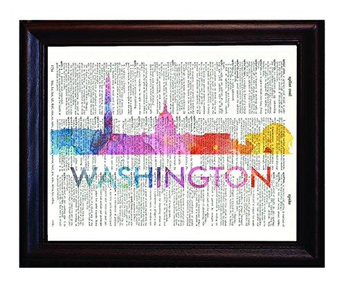 Frische Prints von CT Washington DC Love Your City Watercolor Skyline Wörterbuch Kunstdruck Gedruckt auf authentischen Vintage Wörterbuch Buch Seite (Dc-wörterbuch)