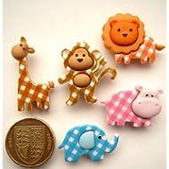 Dress It Up - Bottoni decorativi per arti grafiche e decorazioni, motivo: cuccioli di animali africani