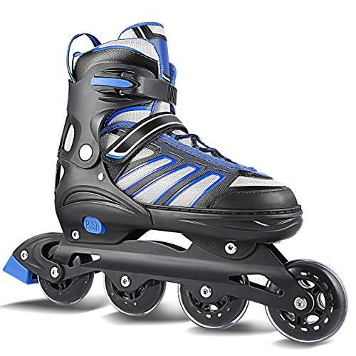 WeSkate Inline Skates Erwachsene/Kinder verstellbar Damen/Herren Inline Skates Rollschuhe PU Verschleißfeste (Erwachsene 43-46, Blau-Schwarz)