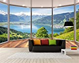 Wapel Custom 3D Tapete 3D Stereo Balkon Windows, Windows Landschaft Fototapete Hintergrund 3D-Wand Tapete Papier Peint Seidenstoff 250x175CM