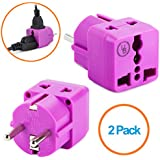 Yubi Power 2 In 1 Universal Travel Adapter With 2 Universal Outlets - Built In Surge Protector - 2 Pack - Purple - Shucko Type E / F For France, Germany, Spain, Sweden, Turkey, Ukraine And More!
