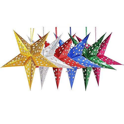 ISCHE Weihnachts Aufhängen massiv Laser Papier Star Party Decor Weihnachtsbaum Ornament (6Farben) ()