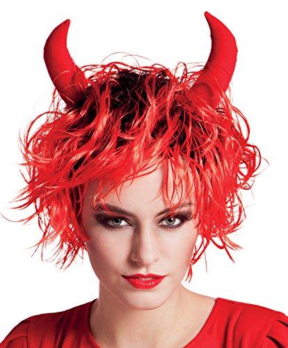 Boland parrucca diavoletta curly devil con corna per adulti, rosso, taglia unica 86084