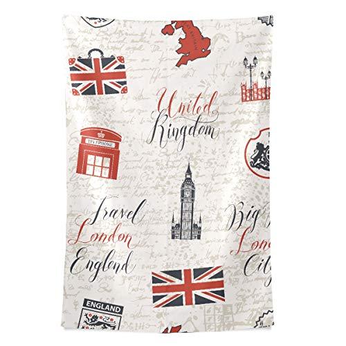 London Symbole mit Elizabeth Tower (Big Ben) Wandteppich Wandbehang Cool Post Print für Wohnheim Home Wohnzimmer Schlafzimmer Tagesdecke Picknick Bettlaken 80 X 60 Zoll - Tagesdecke Mit